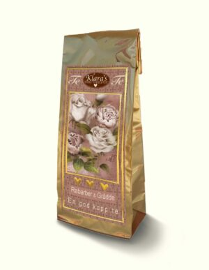 Dekorativ påse med rosa blommor, rabarber & grädde