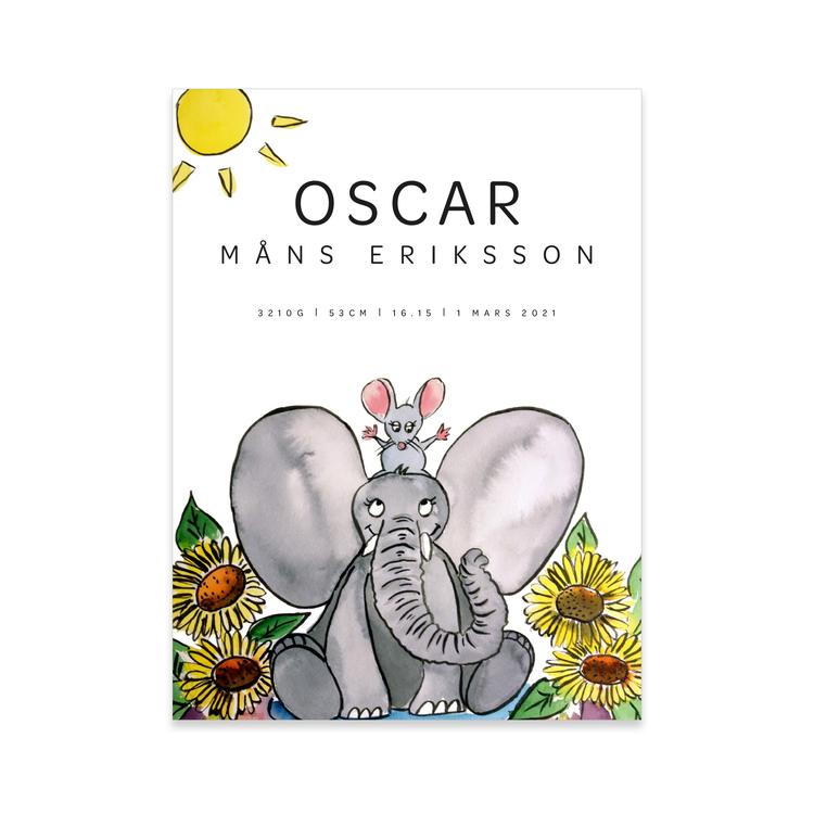 Elefant & mus i solrosor