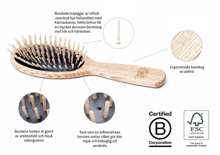 TEK - Smal hårborste i askträ med korta träpiggar