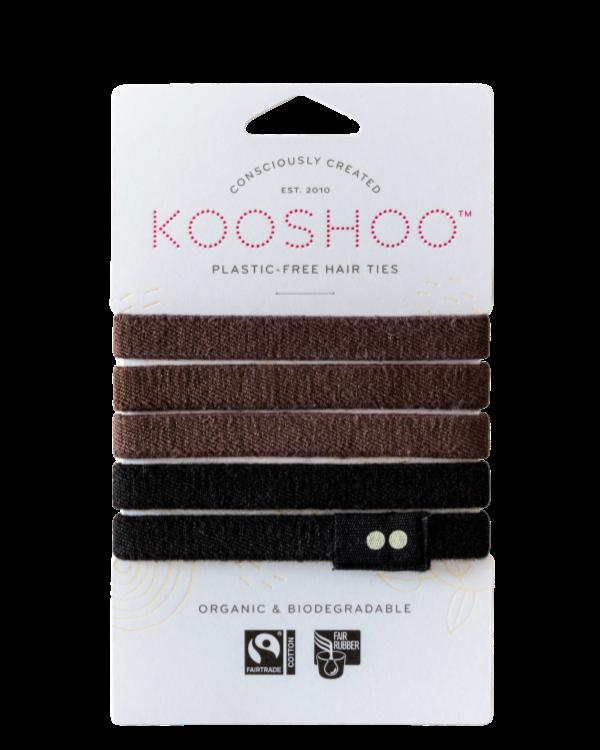 Kooshoo - Ekologiska hårsnoddar - 5-pack - Brun & Svart