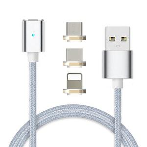 Premium serie - magnetisk kontakt (3 i 1) med 3 olika anslutningar - extra kraftig magnet