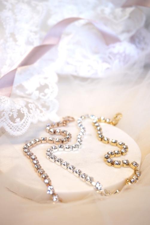 Tynt krystallarmbånd rosegull