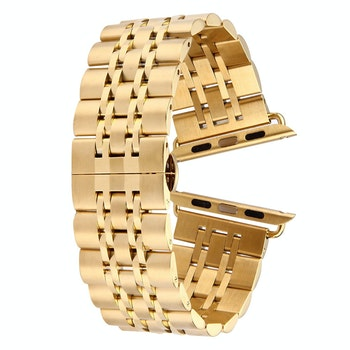 Stainless Steel Dold Butterfly Buckle 7 Beads  Apple Watch 42/44mm Guld