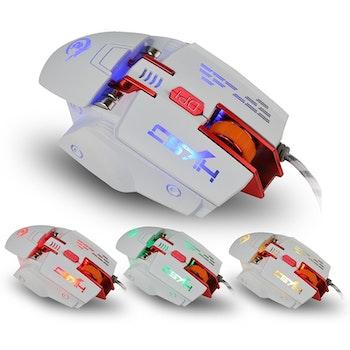 HXSJ X 200 7 knappar 4000 DPI LED  USB optisk spelmus vit