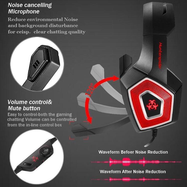 Hunterspider V1 3,5 mm RGB gaming headset blå