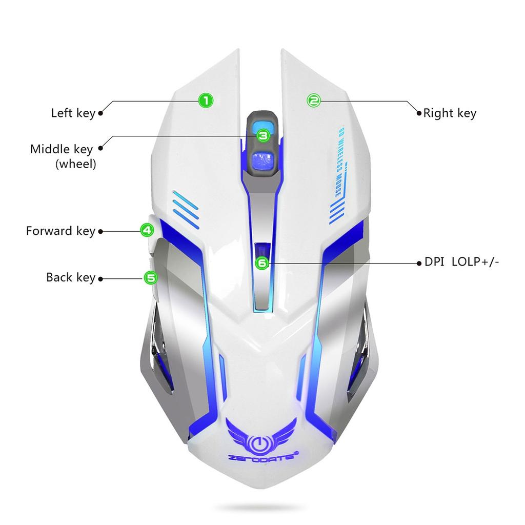 ZERODATE X70 2,4 GHz trådlös  2400 DPI optisk Gaming Mus LED vit