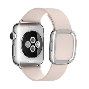 Modern Silver Buckle Läderarmband till Apple Watch 42/44mm Rosa