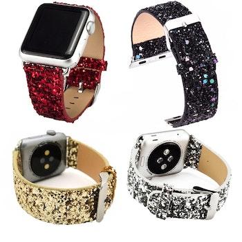 Glitter armband till Apple Watch 42/44mm Röd