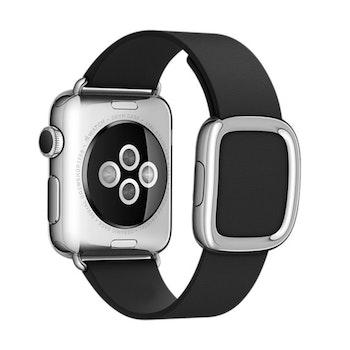 Modern Silver Buckle Läderarmband till Apple Watch 42/44mm