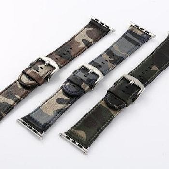 Kamouflage stil läderrem klockarmband för Apple Watch 42/44mm