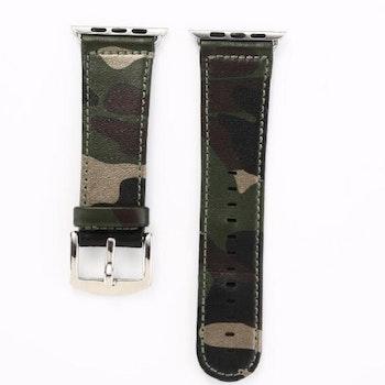 Kamouflage stil läderrem klockarmband för Apple Watch 42/44mm Grå/Svart/Guld
