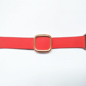 Modern Rosegold Buckle Läderarmband till Apple Watch 42/44mm Röd