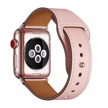 Äkta läder armband till Apple Watch 42/44mm Svart