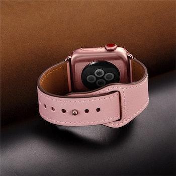 Äkta läder armband till Apple Watch 42/44mm Ljusbrun