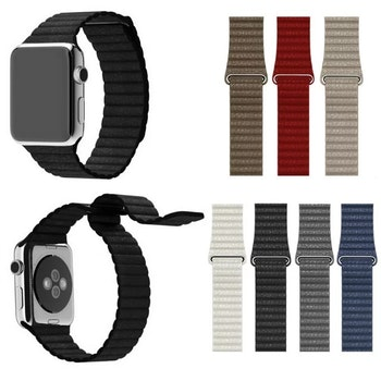 För Apple Watch 42mm Loop magnetlåsspänne PU läder armband Vit