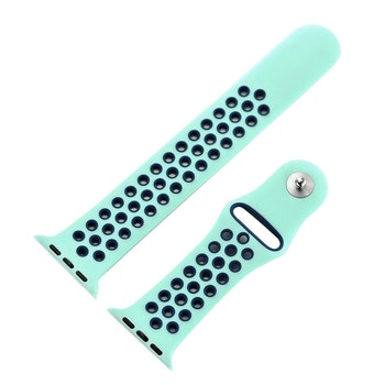 För Apple Watch 38mm S/M Blå+blå silikon Sport klockarmband