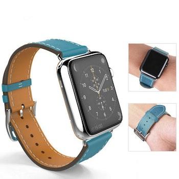 Äkta läder armband till Apple Watch 38/40mm Blå