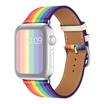 För Apple Watch 42/44mm Läderarmband Pride Silverspänne