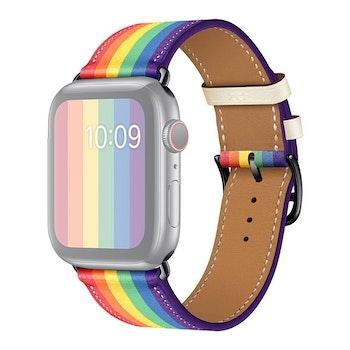 För Apple Watch 42/44mm Läderarmband Pride Svart Spänne