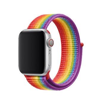 För Apple Watch 42/44mm Nylon Loop med kardborreknäppning Pride