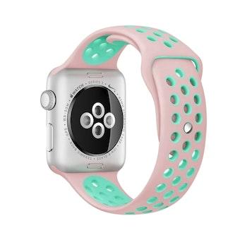 För Apple Watch 42/44mm M/L silikon Sport klockarmband Rosa+turkos