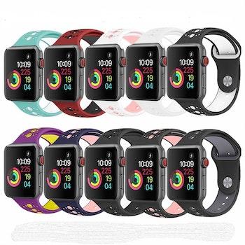 För Apple Watch 42/44mm  silikon Sport klockarmband Lila+gul