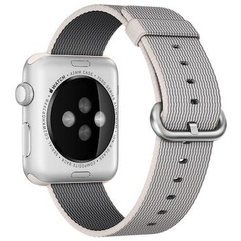För Apple Watch 42/44mm Woven Nylon Klockarmband Pearl
