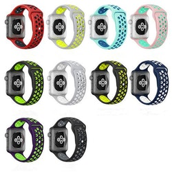 För Apple Watch 42/44mm M/L silikon Sport klockarmband Grå+vit