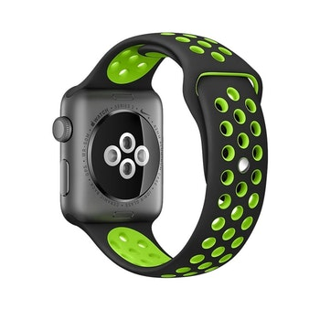 För Apple Watch 42/44mm M/L svart/grå silikon Sport klockarmband