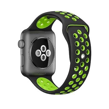 För Apple Watch 42/44mm M/L silikon Sport klockarmband Blå+vit