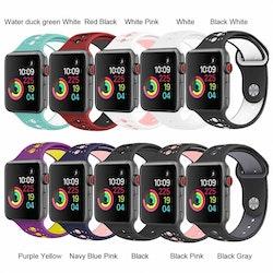 För Apple Watch 42/44mm  silikon Sport klockarmband Marinblå+rosa