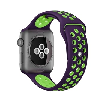 För Apple Watch 38/40mm M/L Lila+grönsilikon Sport klockarmband