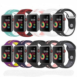 För Apple Watch 42/44mm turkos/vit silikon Sport klockarmband