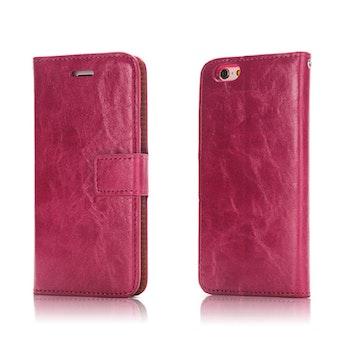 2i1 Plånboksskal i läder av hög kvalitet  Iphone 7 Cerise