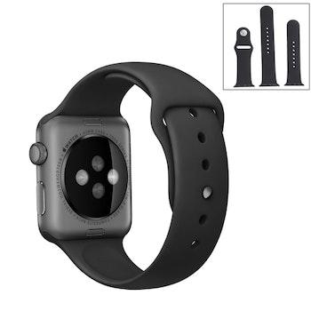 För Apple Watch 42/44mm  silikon Sport klockarmband Svart