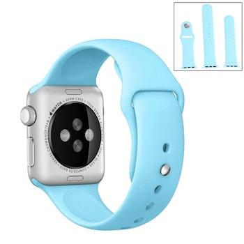 För Apple Watch 42/44mm  silikon Sport klockarmband Ljusblå