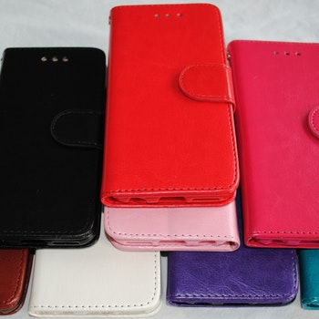 Plånkboksskal i läder av hög kvalitet till Samsung S7 Edge vit