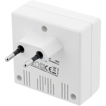 DELTACO Väggladdare, 230V till 5V USB, 4,8A, 4xUSB-portar, vit