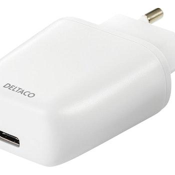 DELTACO Väggladdare 240V till 5V USB, 3A/15W, 1xUSB-C vit
