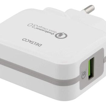 DELTACO Väggladdare USB, Qualcomm Quick Charge 3.0, 19,5W, vit