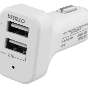 DELTACO Billaddare, 2xUSB-A, 12-24V, 2,1A 10W, vit