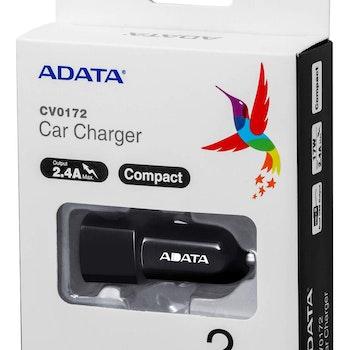 ADATA CV0172 billaddare, 12V/24V DC, 2xUSB-A 5V svart