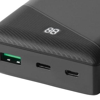 DELTACO Powerbank 20000 mAh 1x USB-A snabbladdning, 1x USB-C PD