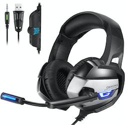 Onikuma K5 3.5mm Stereo gaming headset med Mikrofon Svart/grå