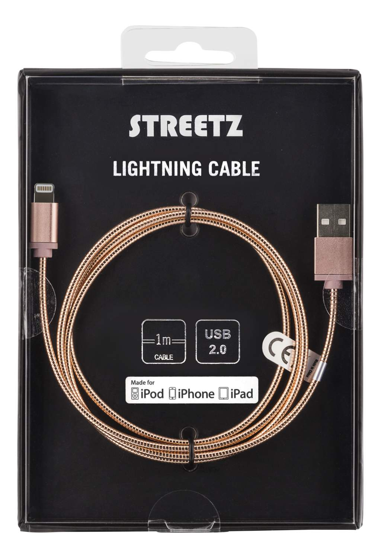 STREETZ iplh-272 USB-synk-/laddkabel metall, MFi Lightning 1m
