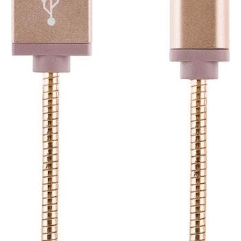 STREETZ USB-synk-/laddarkabel, metallklädd  Micro USB 1m