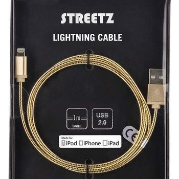 STREETZ USB-synk-/laddkabel metallklädd, MFi Lightning 1m