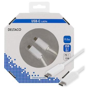 DELTACO USB 3.1 kabel, Gen 1, Typ C - Typ C, 0,5m, 3A, vit