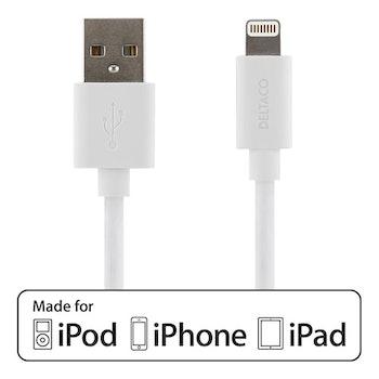 DELTACO USB-synk-/laddarkabel MFi USB Typ A-Lightning 50cm
