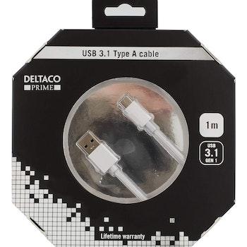 Deltaco Prime USB 3.1 Kabel, Tygklädd, USB-C 1m